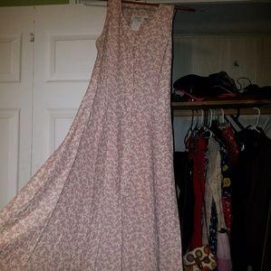 Jody California Long Button Up Pink Floral Dress